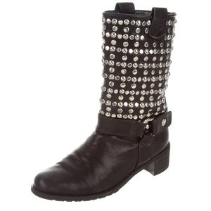 053c5126b6 Stuart Weitzman Shoes - Stuart Weitzman studded black Moto boots 8